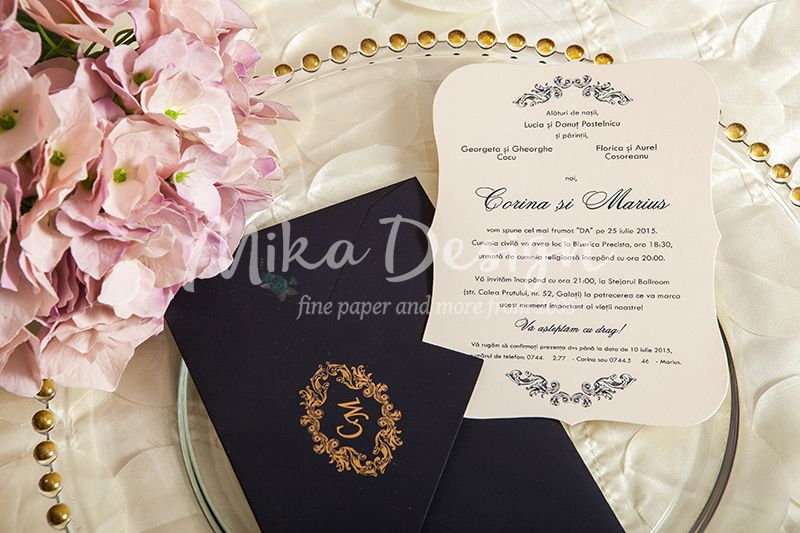 Invitatie nunta eleganta albastru cu auriu - poza 3