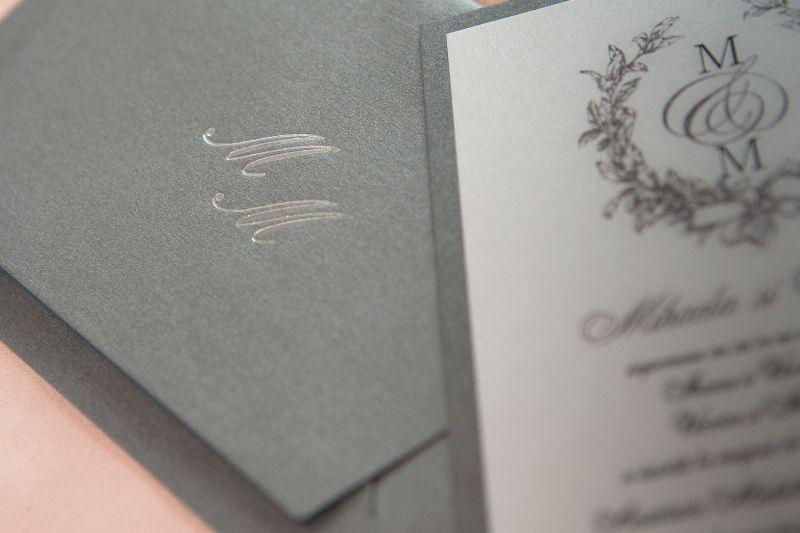 Invitatie nunta eleganta argintiu - poza 3