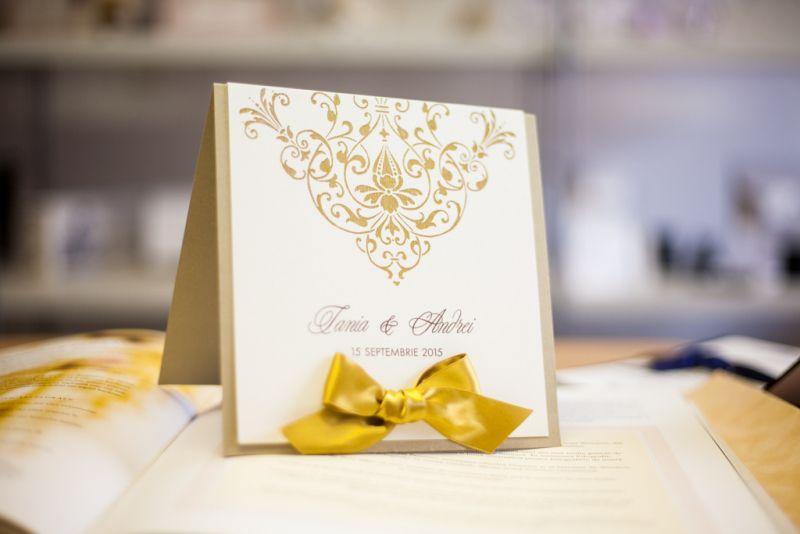 Invitatie nunta eleganta auriu si ivoire - poza 4