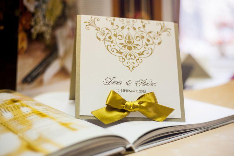 Invitatie nunta eleganta auriu si ivoire - poza 5