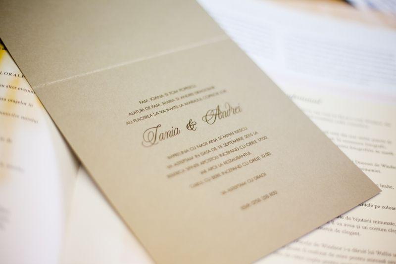 Invitatie nunta eleganta auriu si ivoire - poza 3