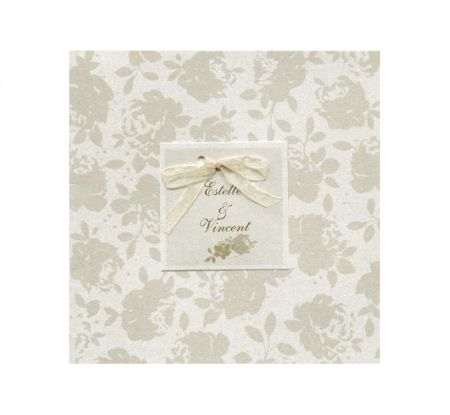 Invitatie nunta cu coperta eleganta imprimata cu floricele - poza 1