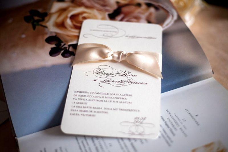Invitatie nunta eleganta crem si maro - poza 3