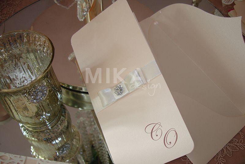 Invitatie nunta eleganta cu accesoriu cristal - poza 2