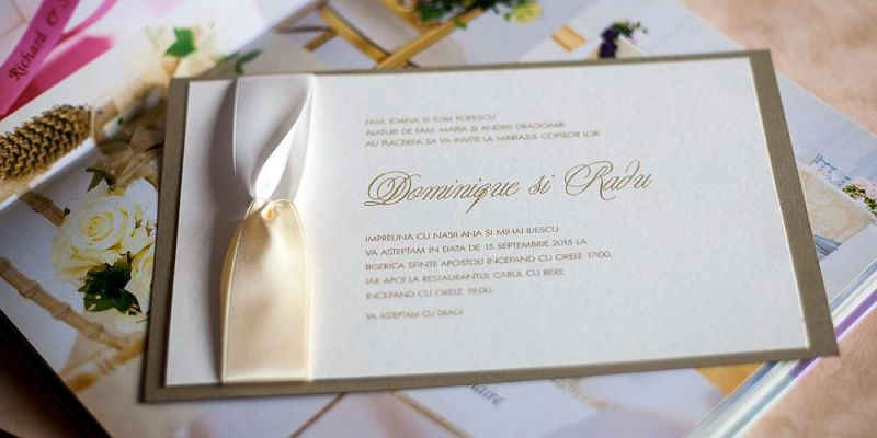 Invitatie nunta eleganta cu funda satin - poza 2