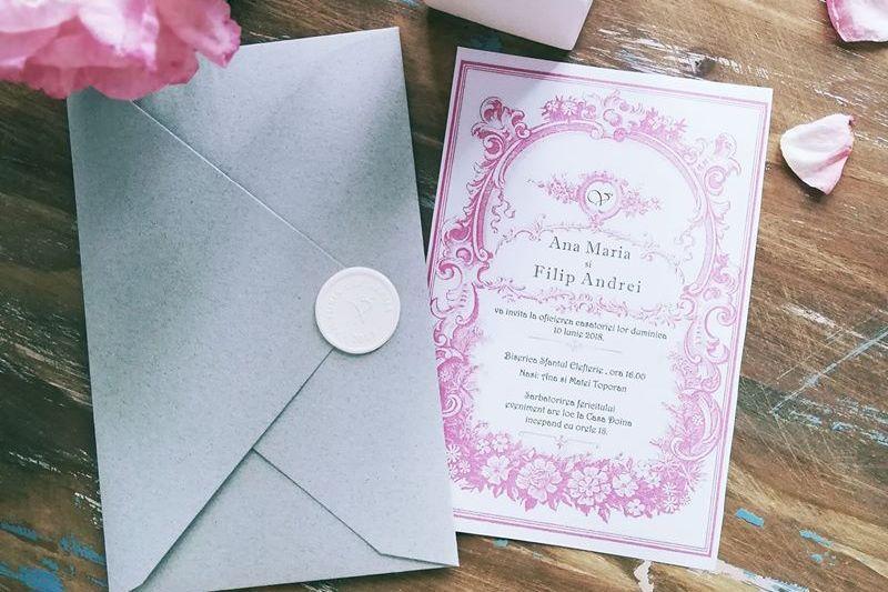 Invitatie nunta eleganta cu sigiliu alb