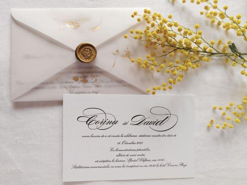 Invitatie nunta eleganta cu sigiliu auriu - poza 1