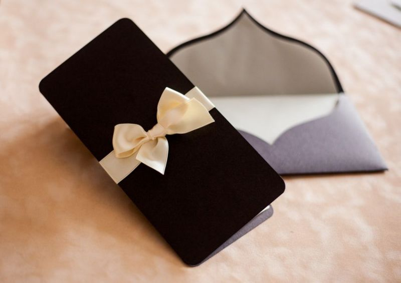 Invitatie nunta eleganta maro sidefat - poza 1