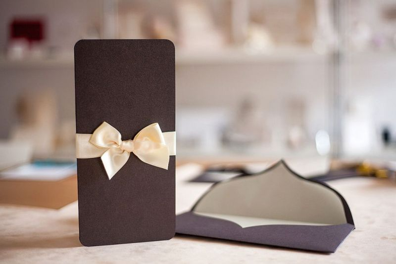 Invitatie nunta eleganta maro sidefat - poza 2