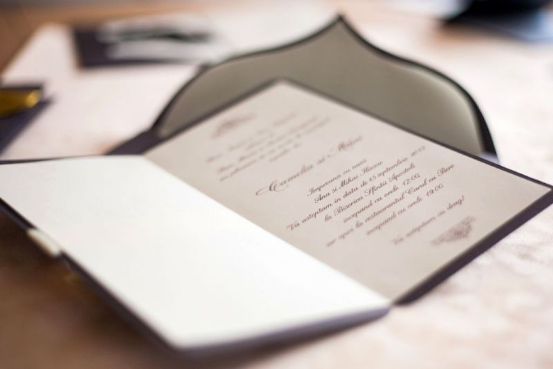 Invitatie nunta eleganta maro sidefat - poza 4