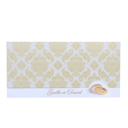 Invitatii nunta cu verighete aurii, design baroc - poza 2