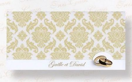Invitatii nunta cu verighete aurii, design baroc - poza 1