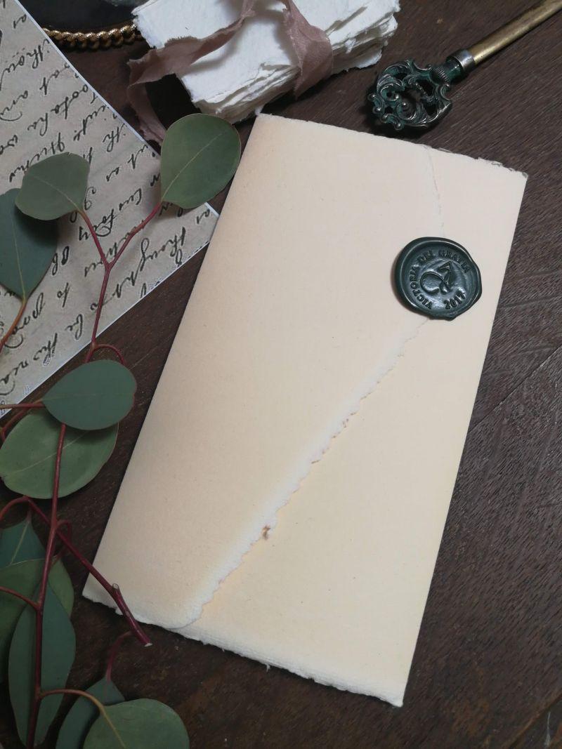 Invitatie nunta hartie manuala cu sigiliu verde venetian - poza 2