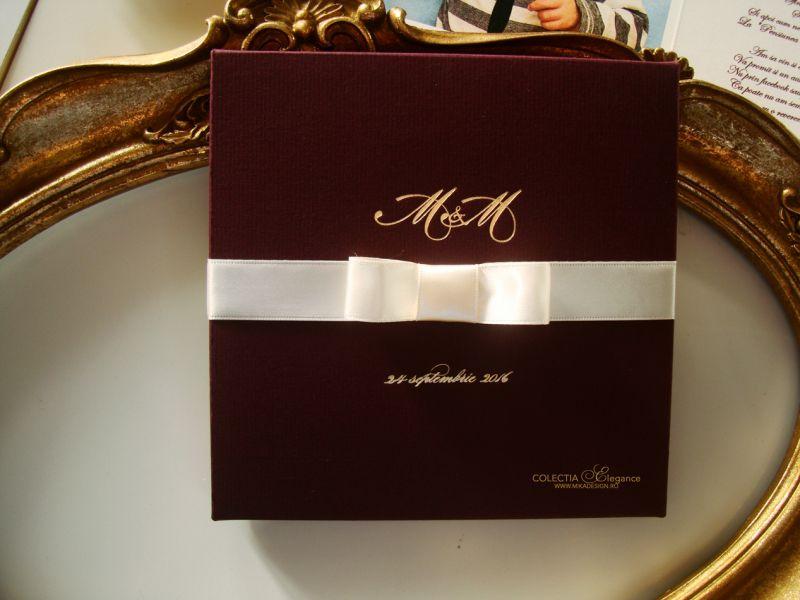 Invitatie nunta in cutie bordeaux - poza 1