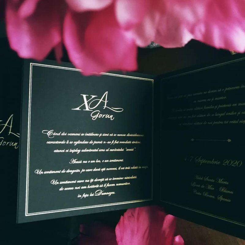 Invitatie nunta in cutie catifea neagra - poza 4