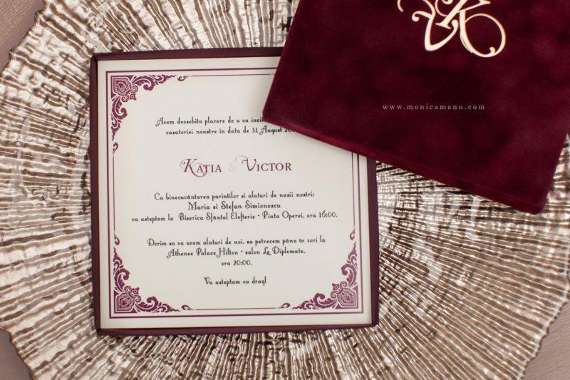 Invitatie nunta in cutie  cu funda aurie - poza 4