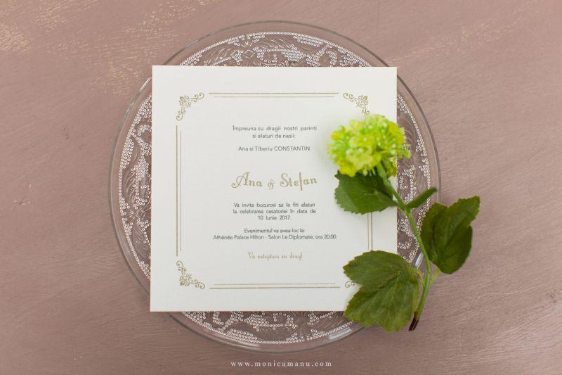Invitatie nunta in cutie  cu funda aurie - poza 3