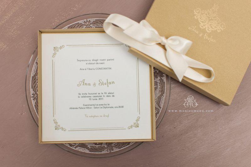 Invitatie nunta in cutie  cu funda aurie - poza 2