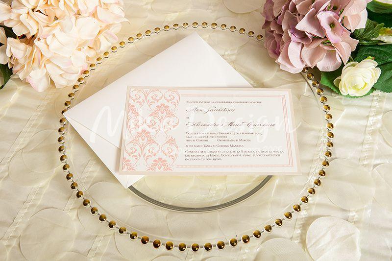 Invitatie nunta ivory cu roz pal - poza 2