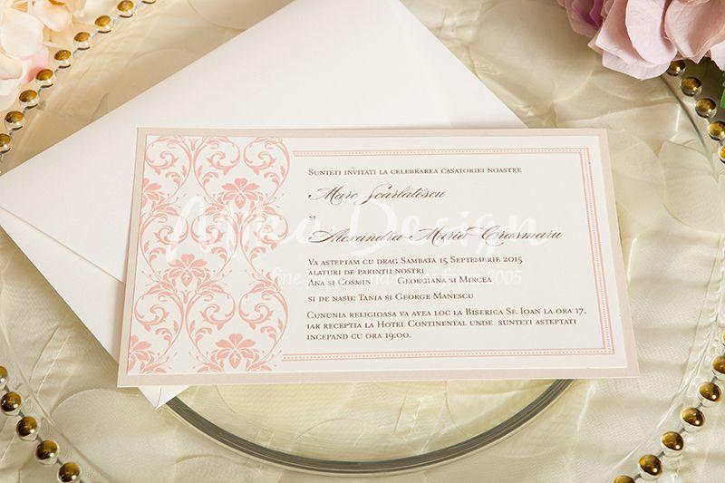 Invitatie nunta ivory cu roz pal - poza 1
