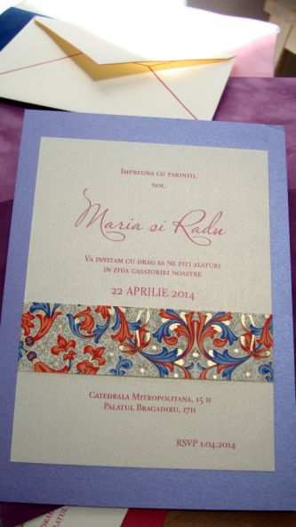 Invitatie nunta lila sidefat - poza 5