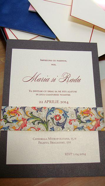 Invitatie la nunta eleganta  maro sidefat si auriu - poza 2