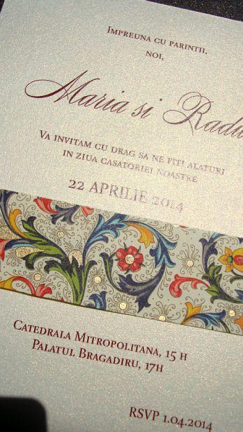 Invitatie la nunta eleganta  maro sidefat si auriu - poza 4