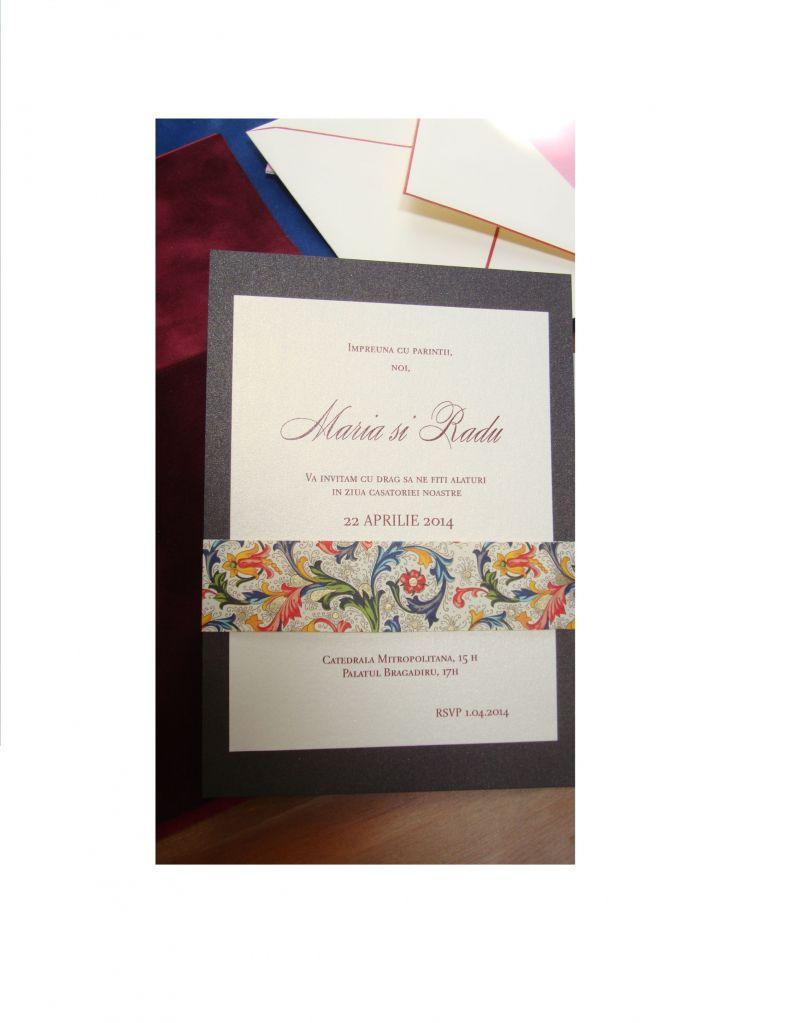 Invitatie la nunta eleganta  maro sidefat si auriu - poza 1