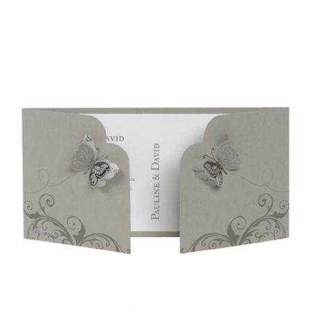 Invitatie nunta cu fluturi 3D - poza 1