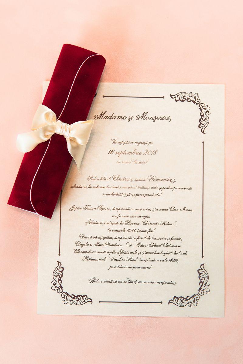 Invitatie nunta model scroll catifea rosie - poza 3