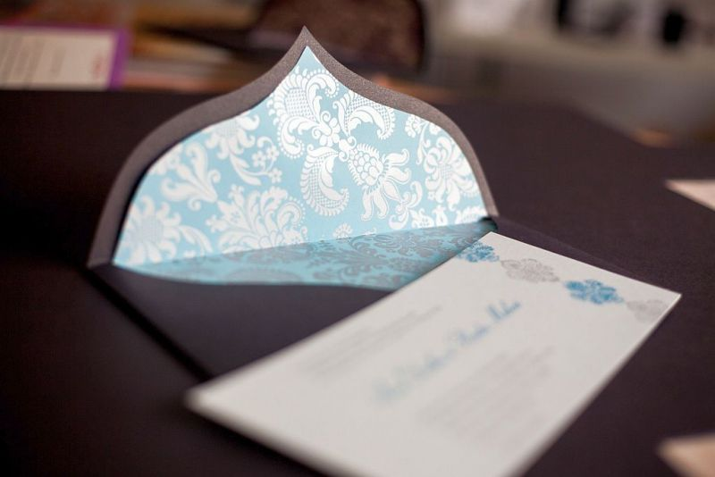 Invitatie nunta moderna maro cu bleu turcoaz - poza 2