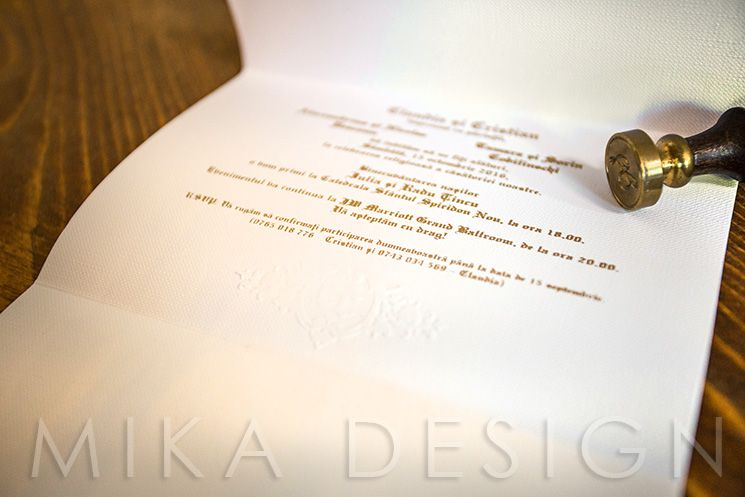 Invitatie nunta monograma relief - poza 4