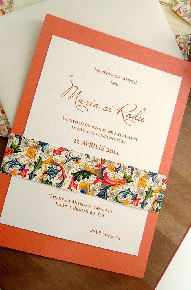 Invitatie nunta orange, auriu, ivoire - poza 4