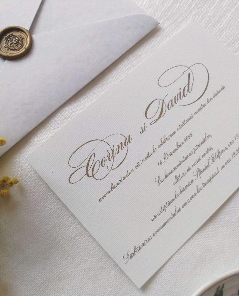 Invitatie nunta plic bleu marmorat - poza 3