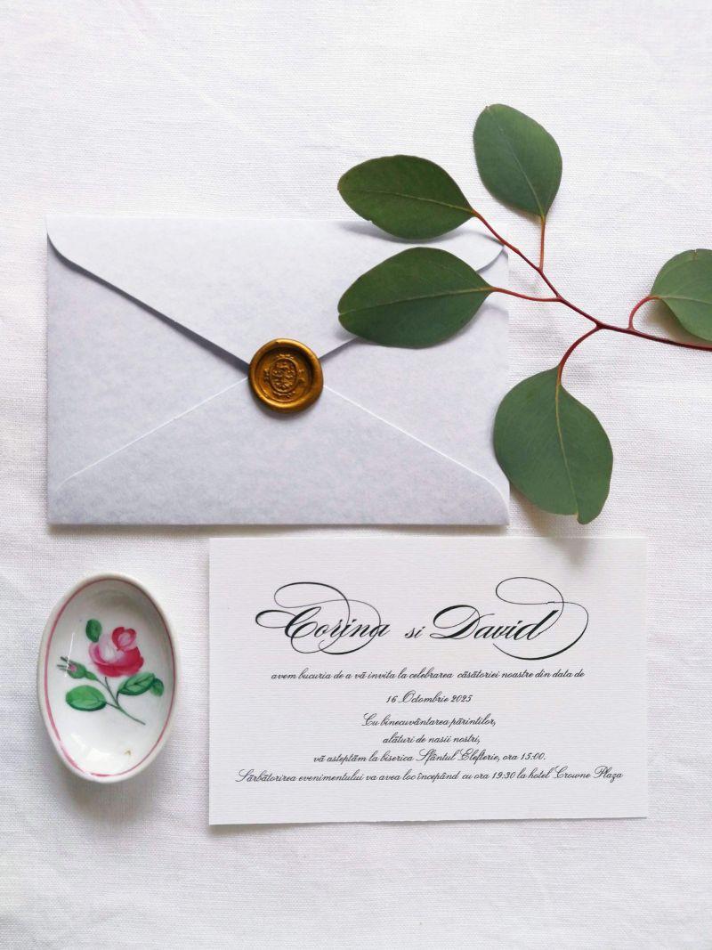 Invitatie nunta plic bleu marmorat - poza 2
