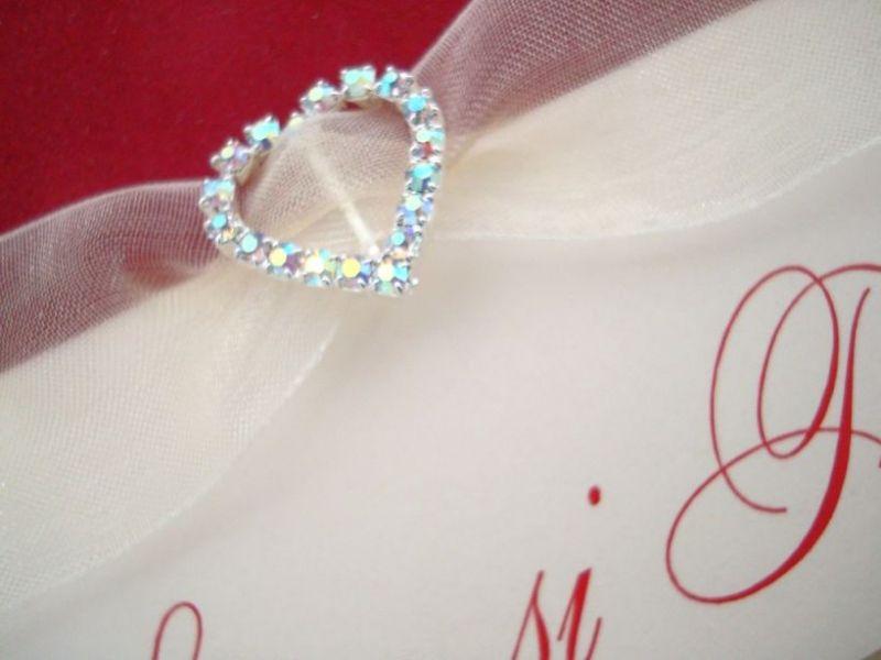 Invitatie nunta din catifea rosie, inimioara cristale - poza 3