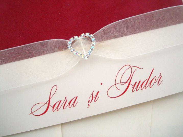 Invitatie nunta din catifea rosie, inimioara cristale - poza 2