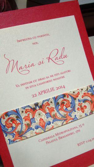 Invitatie nunta banda decorativa design florentin, rosu si auriu - poza 2