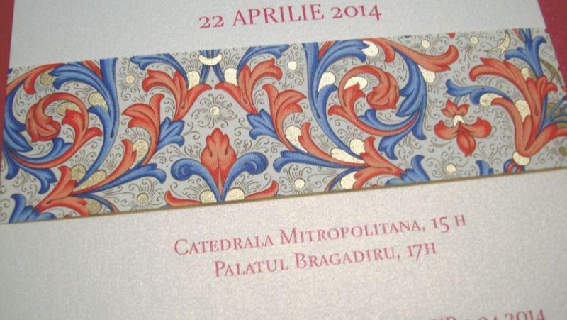 Invitatie nunta banda decorativa design florentin, rosu si auriu - poza 3