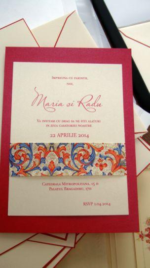 Invitatie nunta banda decorativa design florentin, rosu si auriu - poza 5