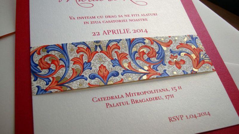 Invitatie nunta banda decorativa design florentin, rosu si auriu - poza 6