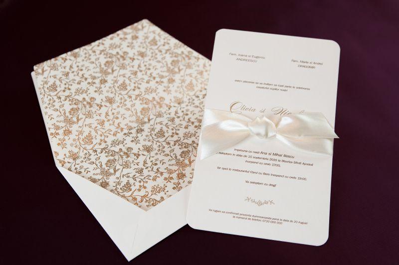 Invitatie nunta simpla ivoire - poza 1