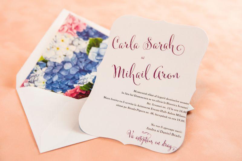 Invitatii nunta cu hortensii - poza 1