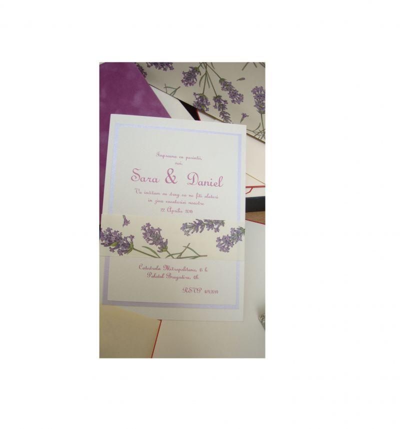 Invitatii nunta rustice, lavanda, provence, lila - poza 3