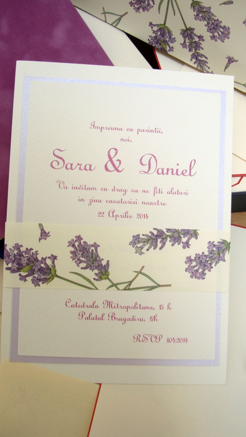 Invitatii nunta rustice, lavanda, provence, lila - poza 4
