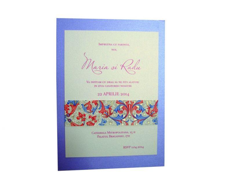 Invitatie nunta lila sidefat - poza 1