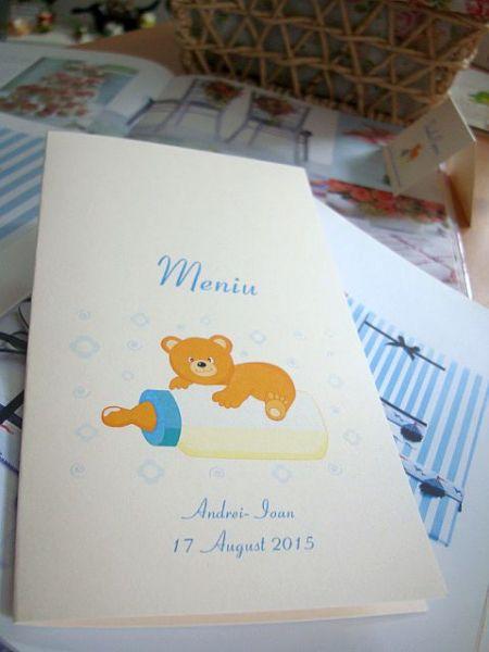 Meniu pentru botez cu ursulet si biberon copilas - poza 1