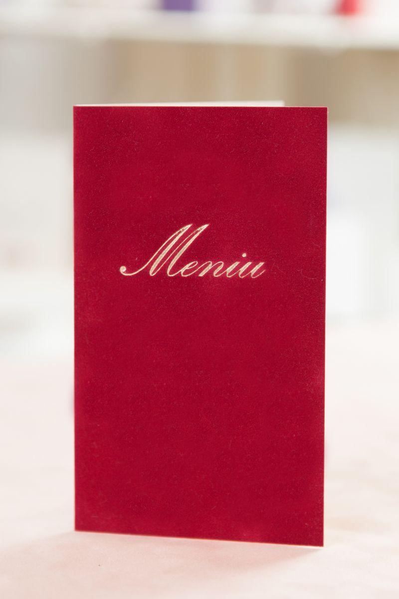 Meniu nunta catifea rosie cu auriu - poza 1