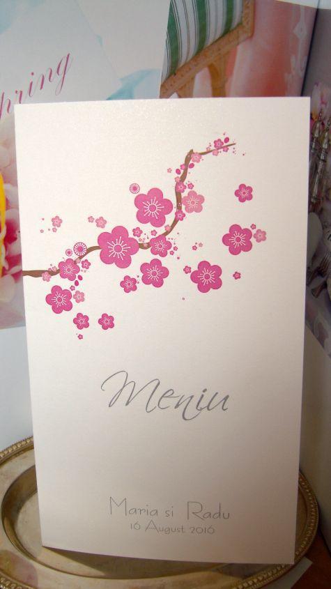 Meniu carton flori de cires - poza 1