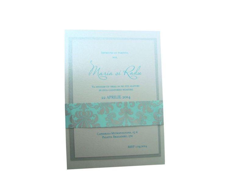 Invitatie nunta damasc argintiu si turcoaz - poza 3
